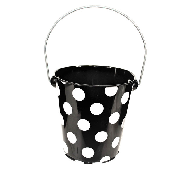 4'' Black Metal Bucket With White Dots