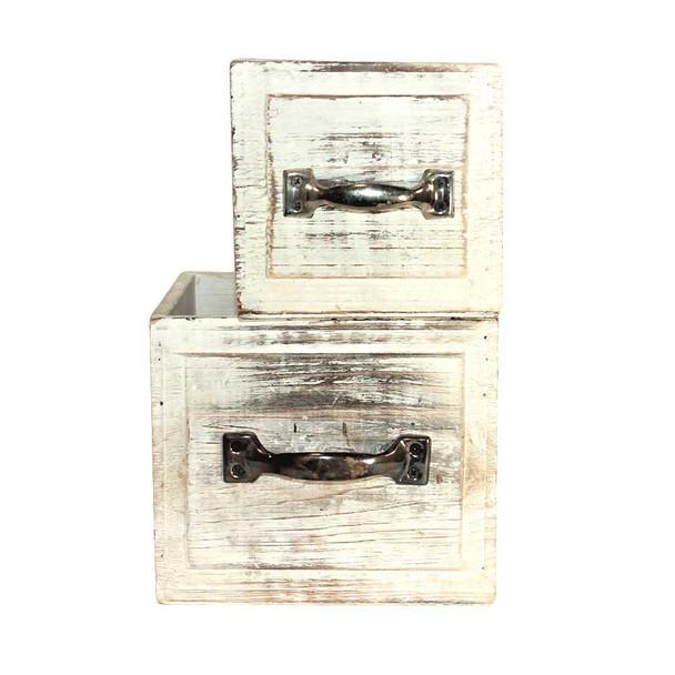 White Wash Wood Drawer Planter Set of 2