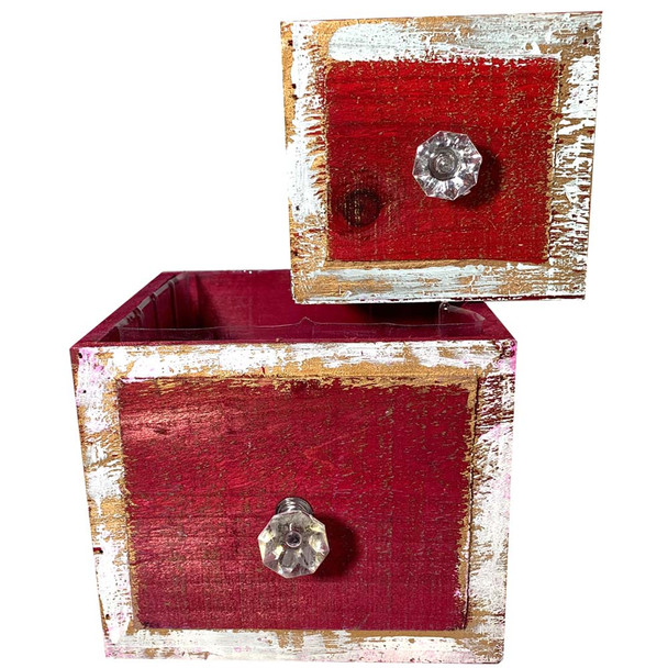 Red Wood Drawer Planter Set of 2