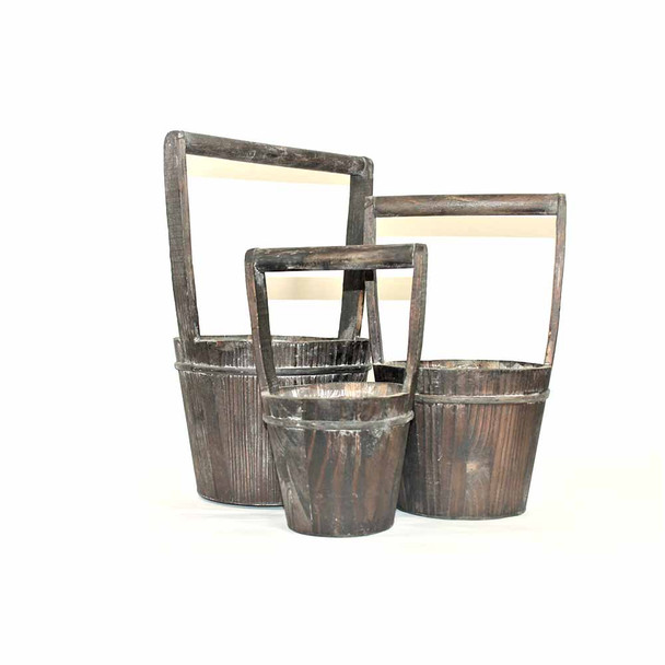Wood Bucket With Handle Set of 3