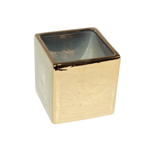 4'' Gold Ceramic Cube