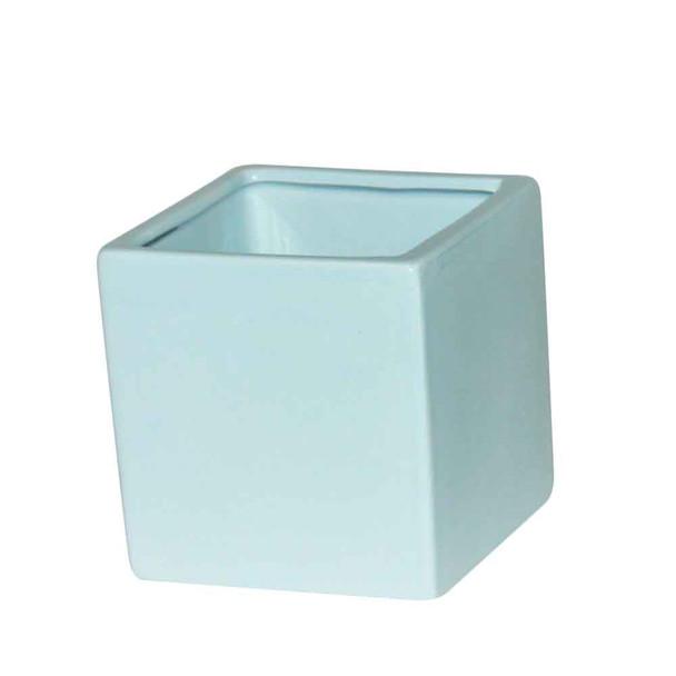 4'' Light Blue Ceramic Cube