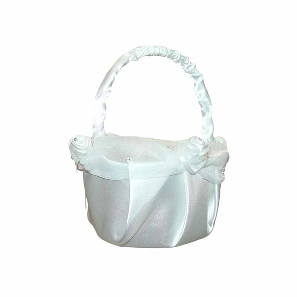 6'' White Flower Girl Basket