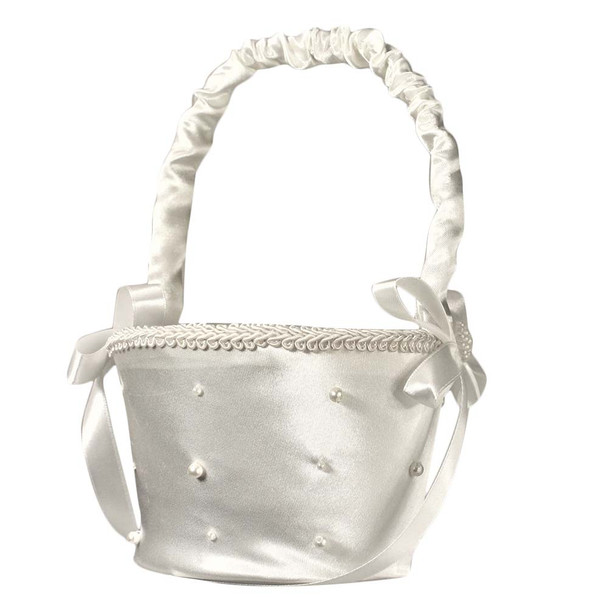6'' Ivory Flower Girl Basket With Pearls