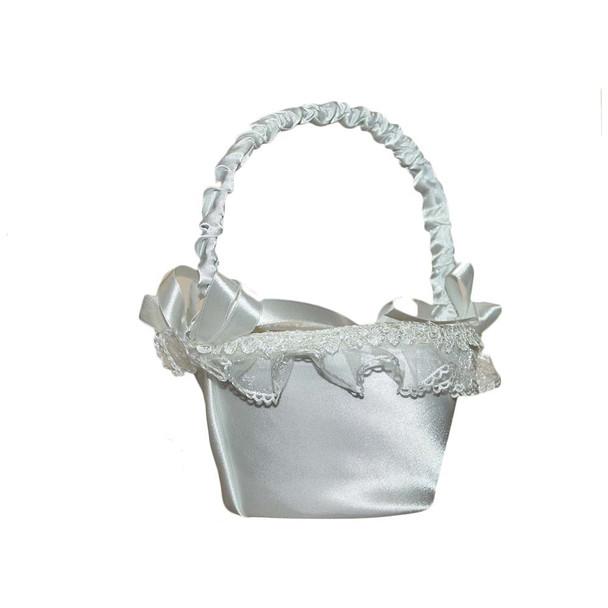 6'' Ivory Flower Girl Basket With Rhinestones