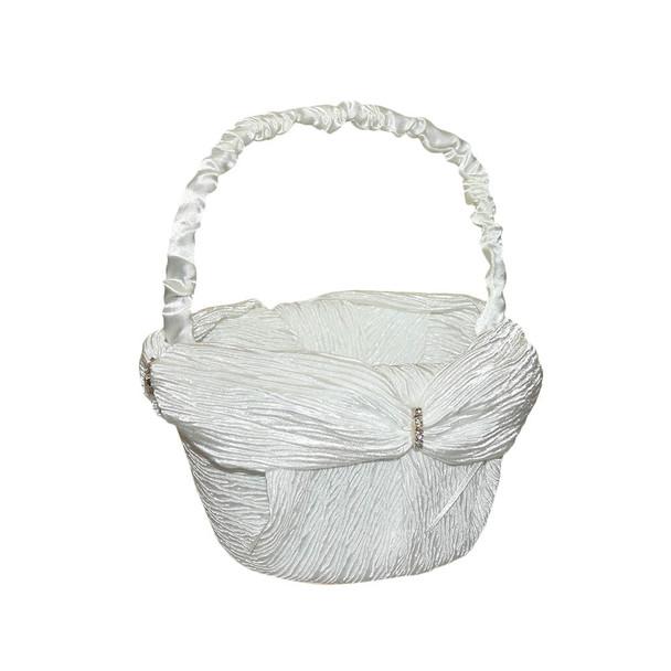 6'' Ivory Flower Girl Basket With Crepe Satin