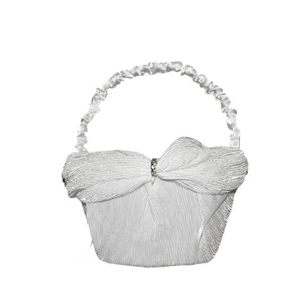 6'' White Flower Girl Basket With Crepe Satin