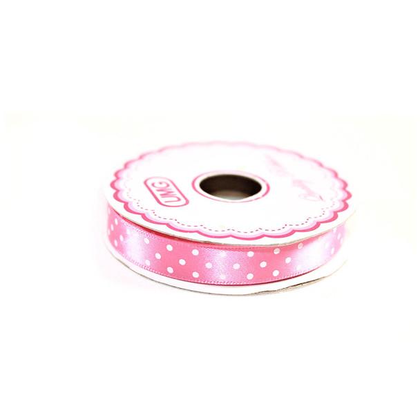 """1/2"""" Pink Satin Ribbon With Polka Dots"""