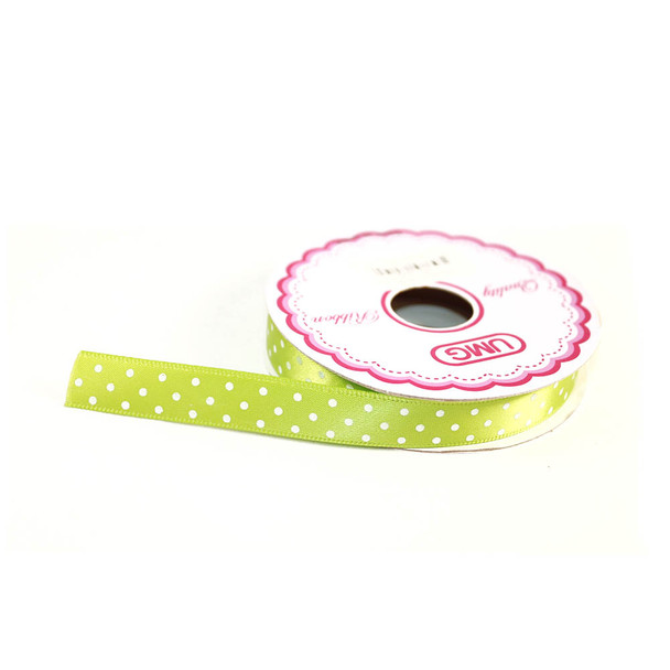 "1/2"" Apple Green Satin Ribbon With Polka Dots"