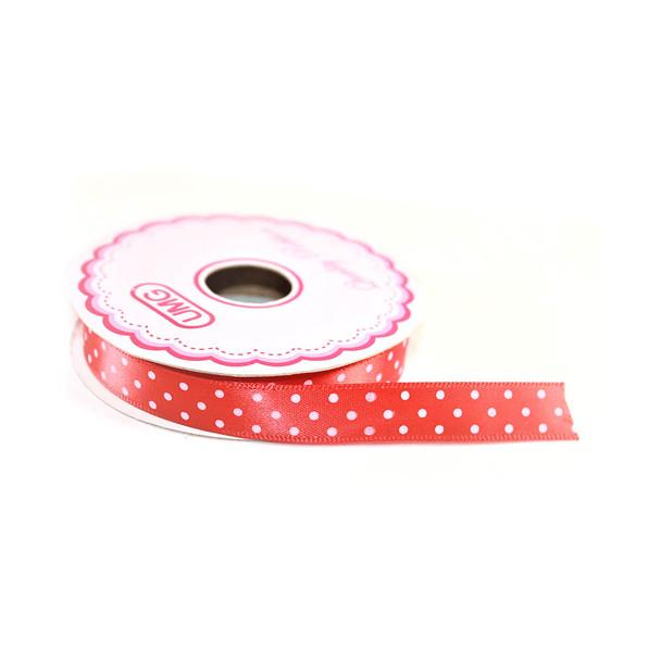 """1/2"""" Red Satin Ribbon With Polka Dots"""