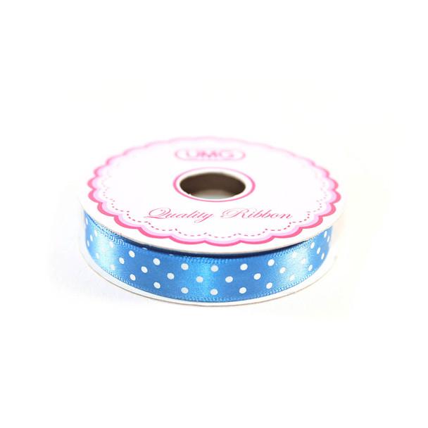 """1/2"""" Royal Blue Satin Ribbon With Polka Dots"""