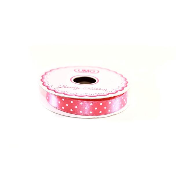 """1/2"""" Hot Pink Satin Ribbon With Polka Dots"""