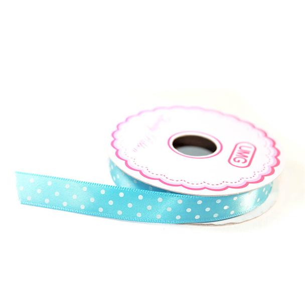 """1/2"""" Blue Satin Ribbon With Polka Dots"""