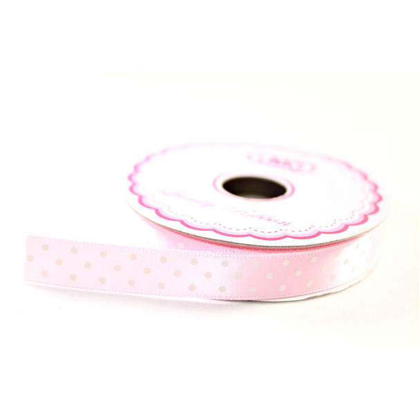 """1/2"""" Light Pink Satin Ribbon With Polka Dots"""
