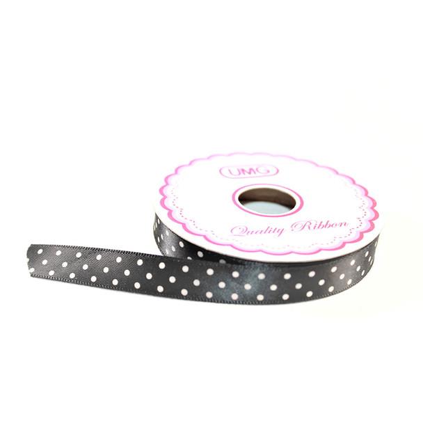 """1/2"""" Black Satin Ribbon With Polka Dots"""