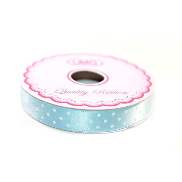 "1/2"" Light Blue Satin Ribbon With Polka Dots"