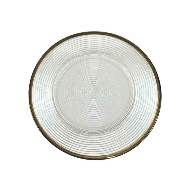 "13"" Glass Charger Plate Gold Rim"