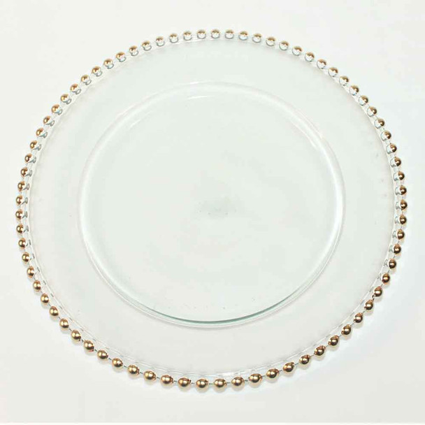 """12"""" Charger Plate With Gold Beaded Edge"""