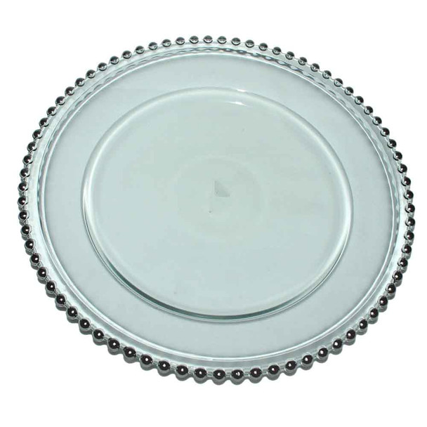 """12"""" Charger Plate With  Silver Beaded Edge"""