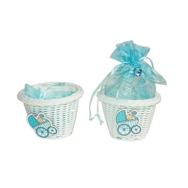 "2.5""  Baby Boy Basket with Pouch"