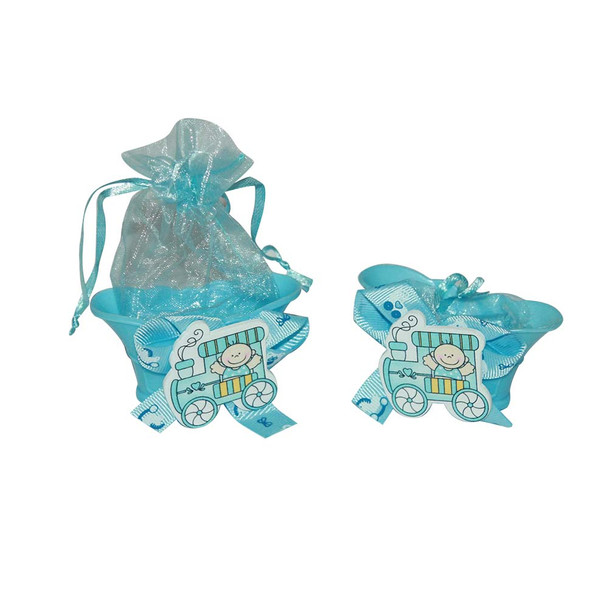 "3"" Choo Choo Train Baby Boy Basket with Pouch"