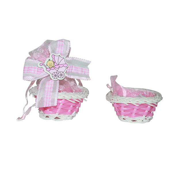 "1.75""  Baby Girl Small Basket with Pouch"