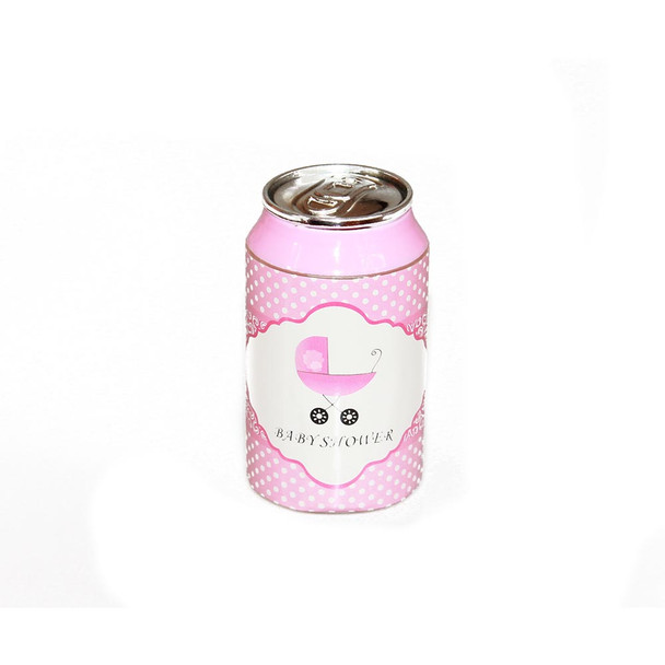 """3.5"""" Pink Baby Shower Soda Can"""