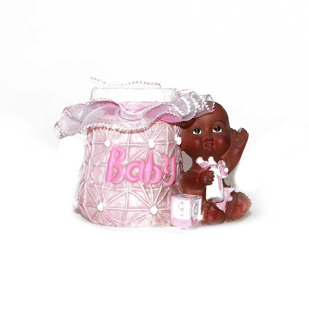 "2.5"" Pink Baby Girl Votive With Lace"