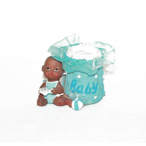 "2.5"" Blue Baby Boy Votive With Lace"