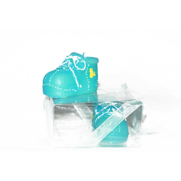 "2"" Blue Baby Shoes Candle"