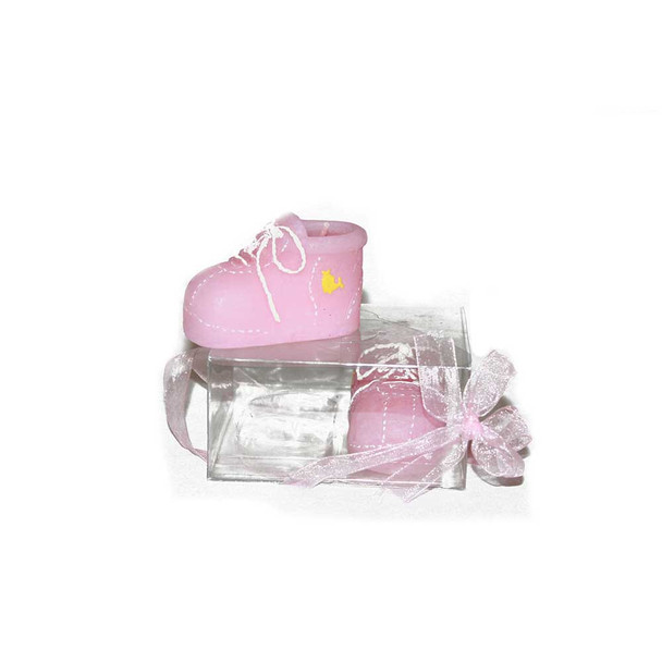 "2"" Pink Baby Shoes Candle"