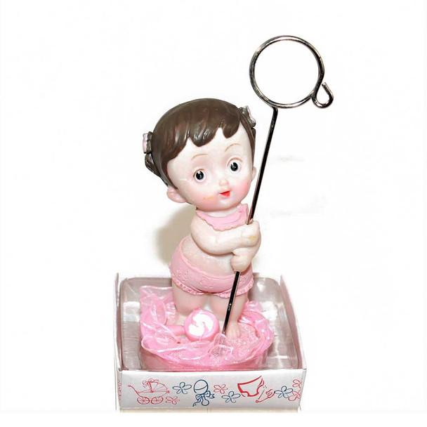 "4.5"" Pink Baby Girl Card Holder"