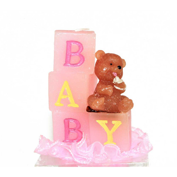 """3.5"""" Baby Bear With Pink Candle"""