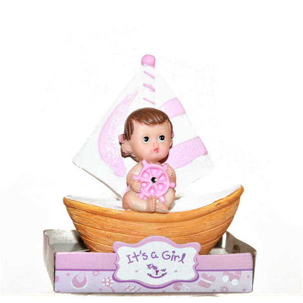 """3.5"""" Baby Girl With Boat"""