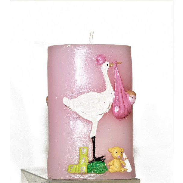 "3.25"" Stork Pink Candle"