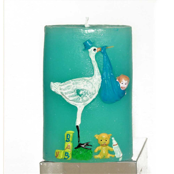 """3.25"""" Stork Blue Candle"""