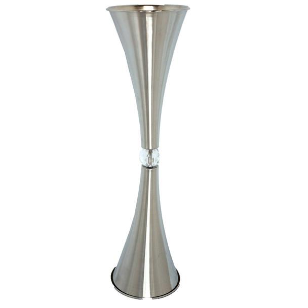 "25.5"" Metal Hourglass Silver Vase"