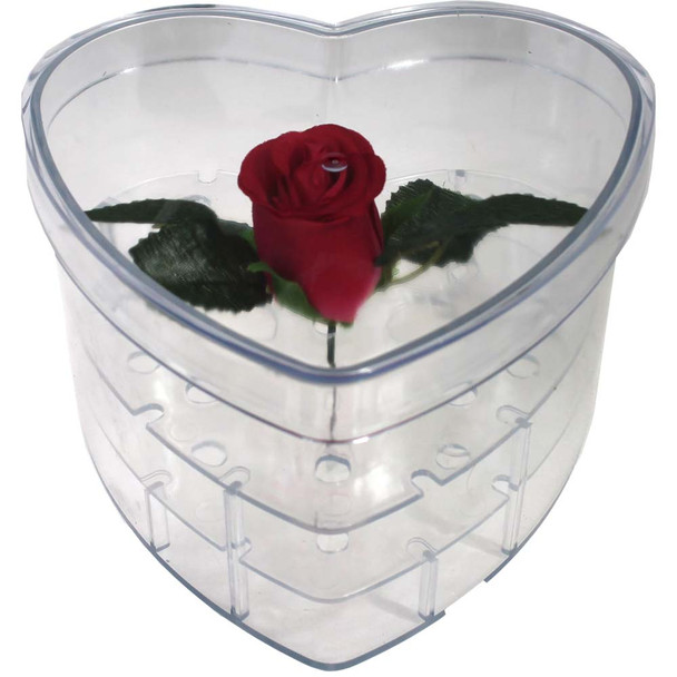 "Acrylic Heart Box - Small - 6.75"" 11 Holes"