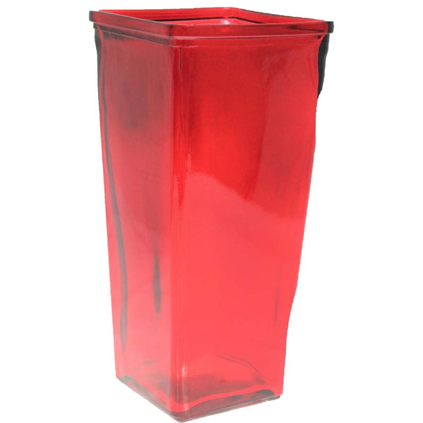 """9"""" Red Glass Tapered Vase"""