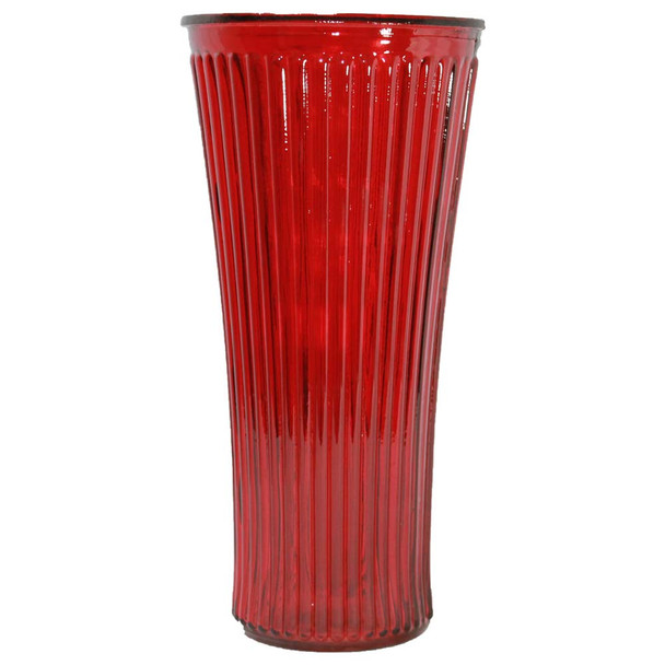 """13"""" Red Rigged Glass Vase"""