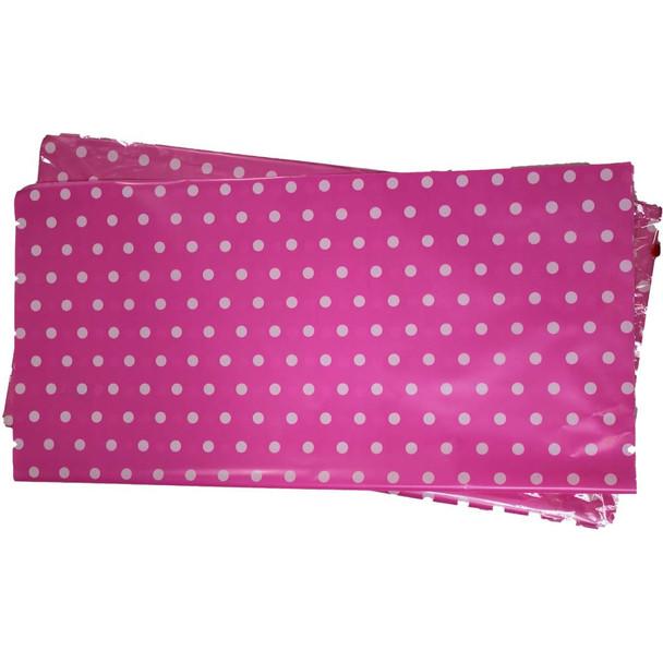 """22"""" Hot Pink Polka Dot Cellophane Sheets - 50 Sheets"""