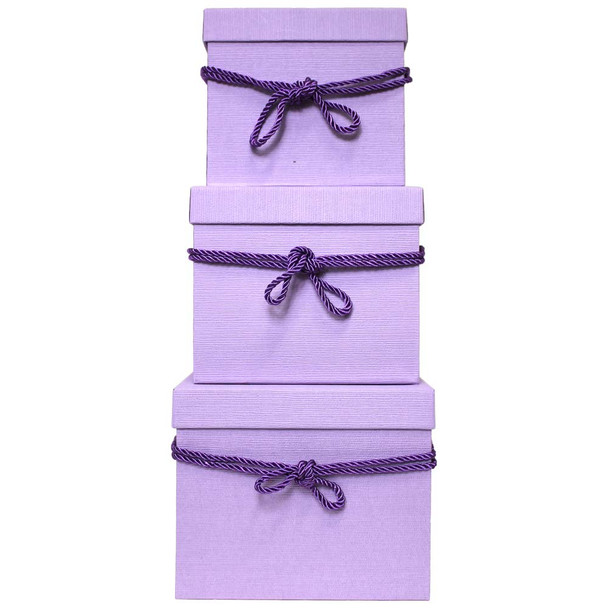 Lavender Square Flower Box with Decorative Rope Set of 3