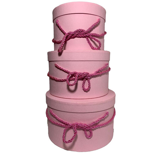 "10"" Pink Round Gift Boxes Set of 3"