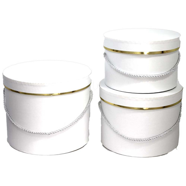 White Round Floral Hat Box with Gold Accent - Set of 3