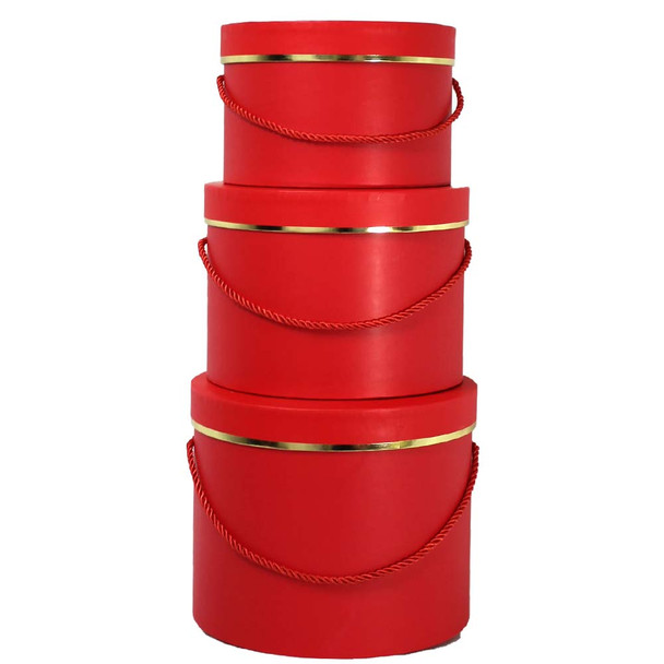 Red Round Floral Hat Box with Gold Accent - Set of 3