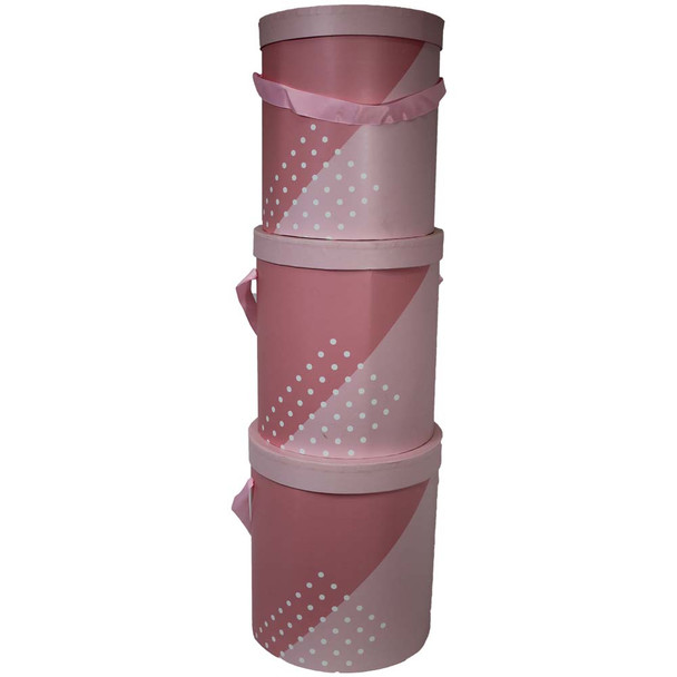 Pink Tall Floral Gift Hat Boxes - Set of 3