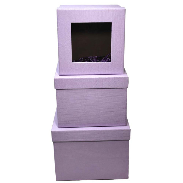 Lavender Square Floral Box with Window - Set of 3