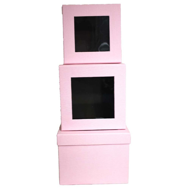 Pink Square Floral Box with Window - Set of 3