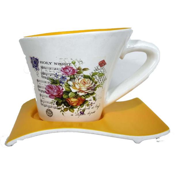 "8"" Yellow Printed Cup & Saucer Ceramic Planter"