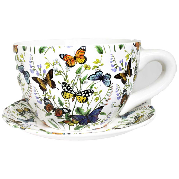 """10"""" XL Butterfly Tea Cup and Sauce Ceramic Planter"""